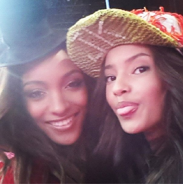 From England, with love — fellow British models Jourdan Dunn and Malaika Firth blew kisses from backstage. Source: Instagram user officialjdunn