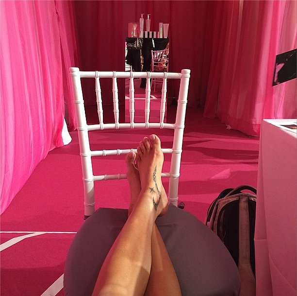 Adriana Lima kicked up her heels before she took them on their runway walk. Source: Instagram user adrianalima