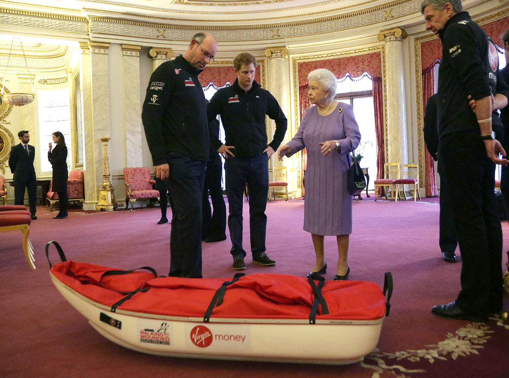 Prince Harry and his Walking With the Wounded trekkers met with Queen Elizabeth II in Buckingham Palace.