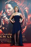 Jennifer Lawrence wore a navy gown at the Madrid premiere of Catching Fire.