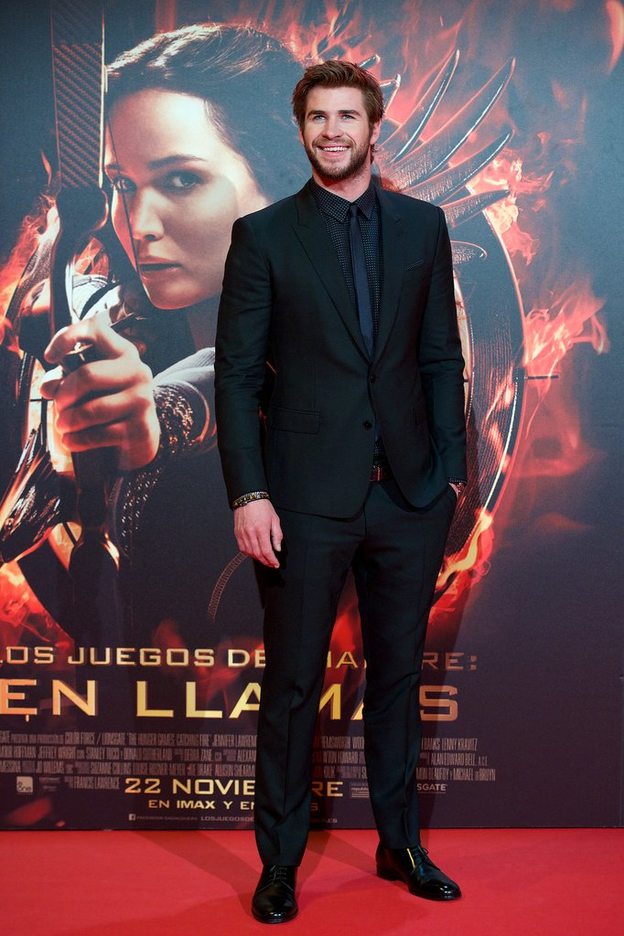 Liam Hemsworth suited up for his latest Catching Fire commitment.