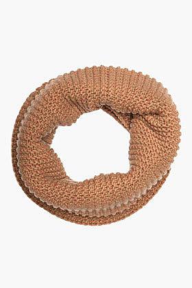 STELLA MCCARTNEY Tan Merino Wool Engineered Ribbed Knit Snood