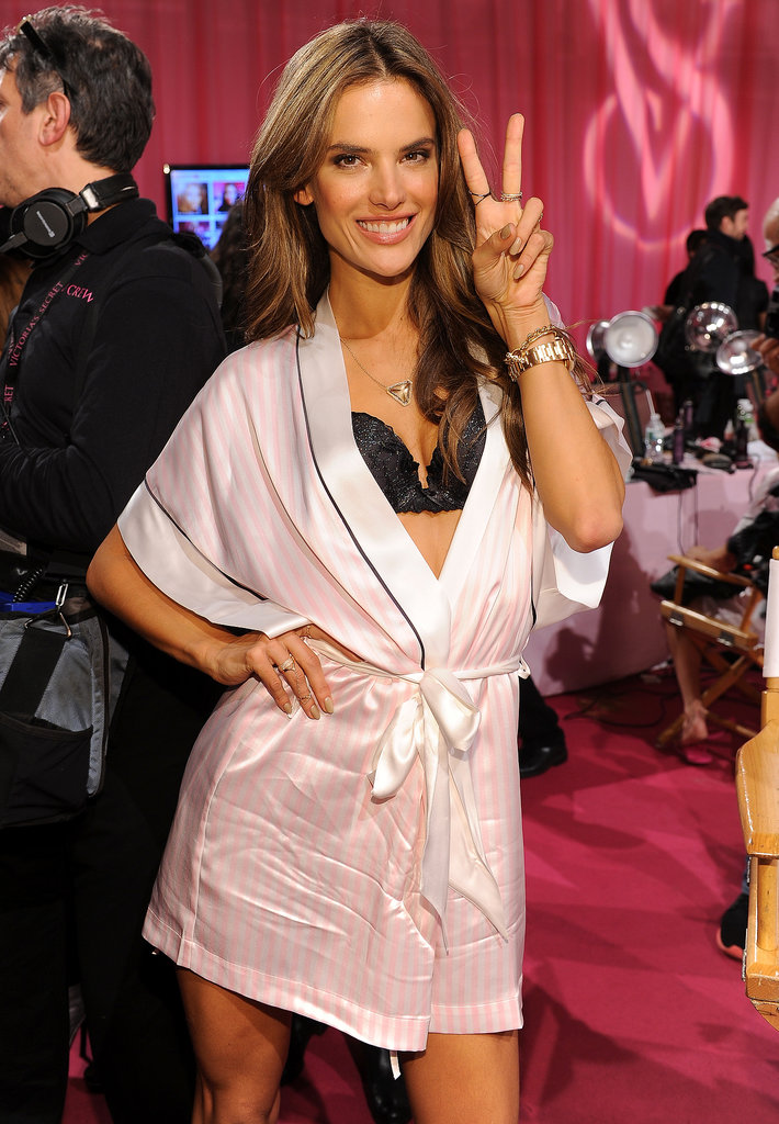 Alessandra Ambrosio flashed her smile backstage.