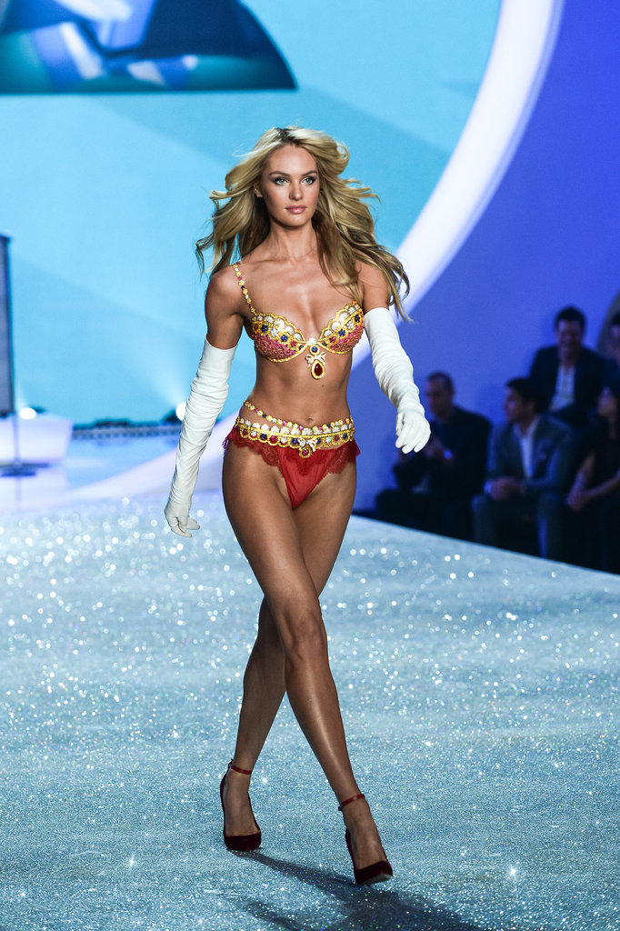 Candice Swanepoel wearing the $10 million Royal Fantasy Bra.