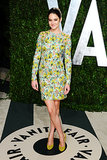 A Proenza Schouler floral embroidered dress epitomized the young actresses's fresh and fuss-free style for Vanity Fair's 2012 Oscar party. The Hollywood darling completed her Spring-ready style with lime green Diane von Furstenberg pumps.