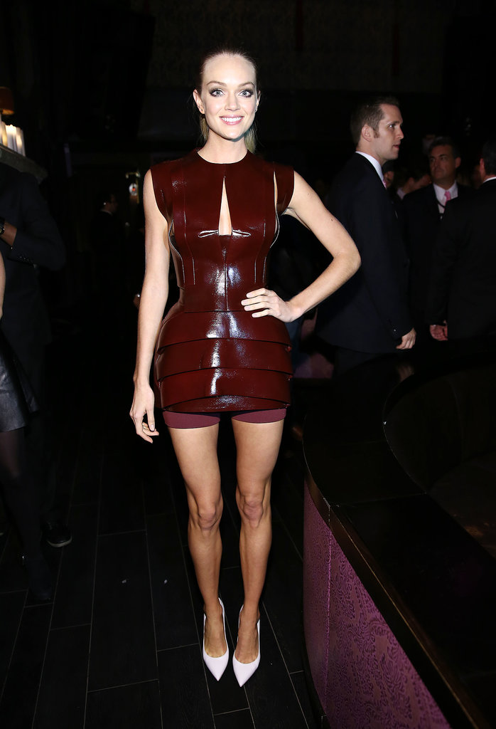 We love the sculptural feel of Lindsay Ellingson's oxblood mini.