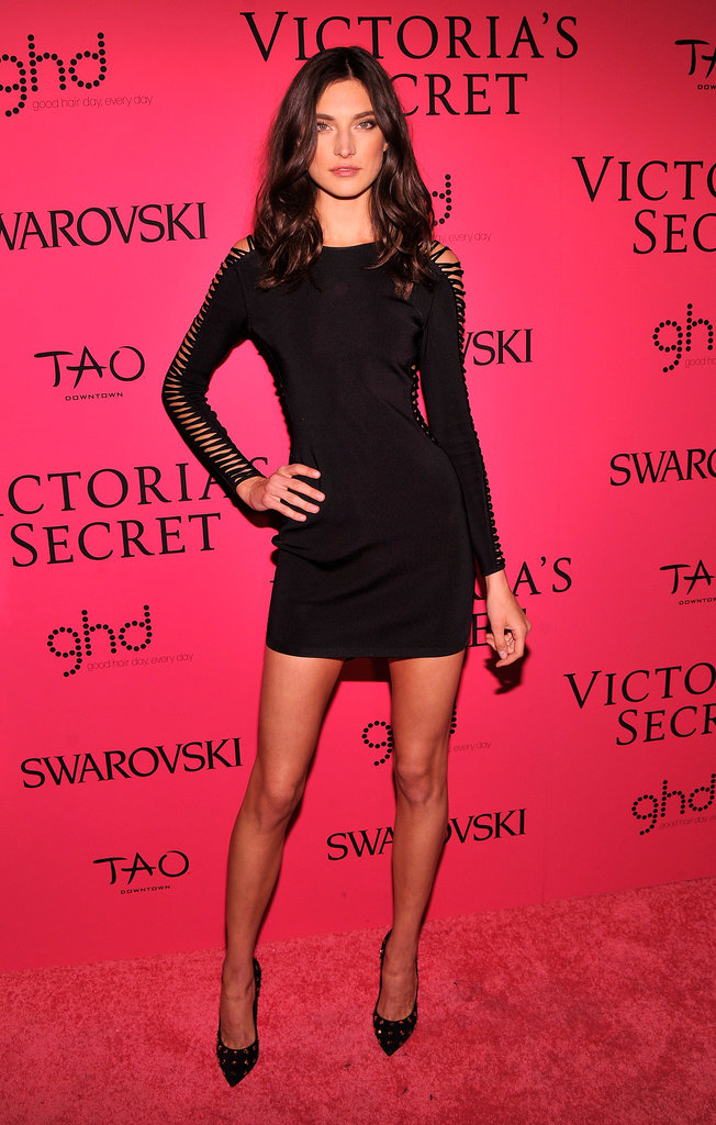Jacquelyn Jablonski's little black dress balanced out its long sleeves with an ultrashort hem.