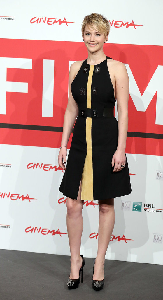 For a photocall in Rome, Jennifer went a decidedly sportier route in a black and yellow Proenza Schouler dress.