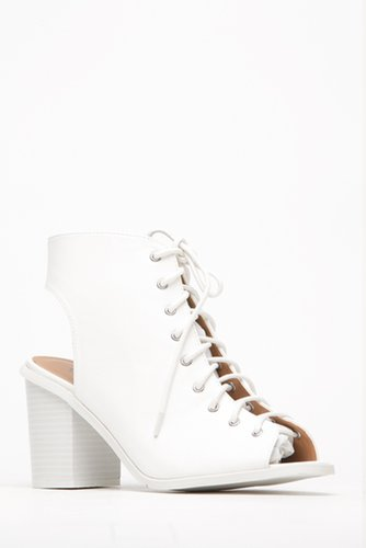 Qupid White Out Lace Up Peep Toe Heel @ Cicihot. Booties spell style, so if you want to show what you're made of, pick up a pair