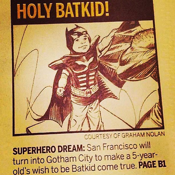 Batkid got a comic in the newspaper.  Source: Instagram user macmichaelson