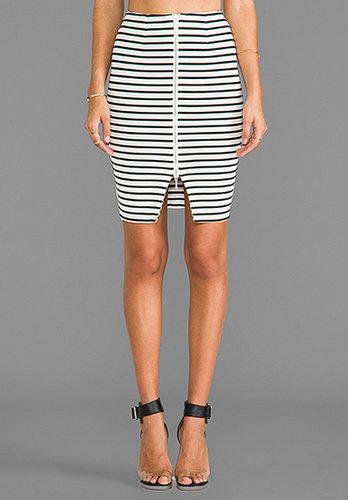 NICHOLAS Breton Stripe Pencil Skirt in White/Black