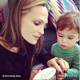 Molly Sims gave her son a manicure. We think it looks like gel! Source: Instagram user mollybsims