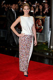 Jennifer Lawrence is no stranger to Dior Haute Couture, but her column gown at the UK Catching Fire premiere was full of surprises — least of all its innovative, skin-baring shape (which could only be appreciated from the back!).