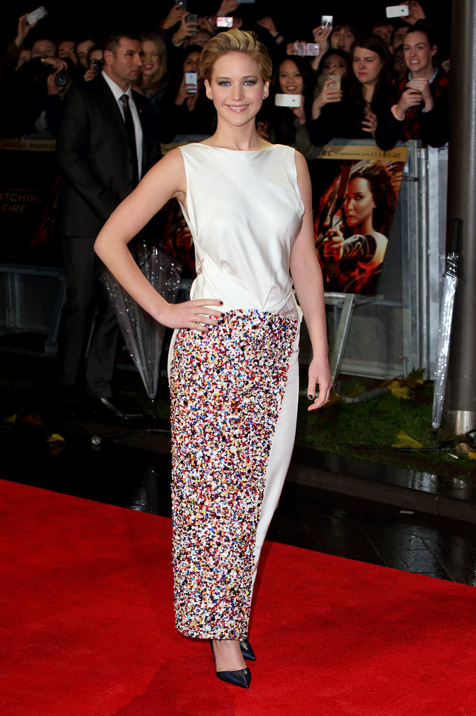 Jennifer Lawrence is no stranger to Dior Haute Couture, but her column gown at the UK Catching Fire premiere was full of surprises —least of all its innovative, skin-baring shape (which could only be appreciated from the back!).