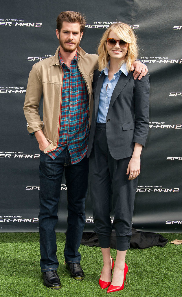 Emma Stone and Andrew Garfield posed together during an Amazing Spider-Man 2 photocall in LA.