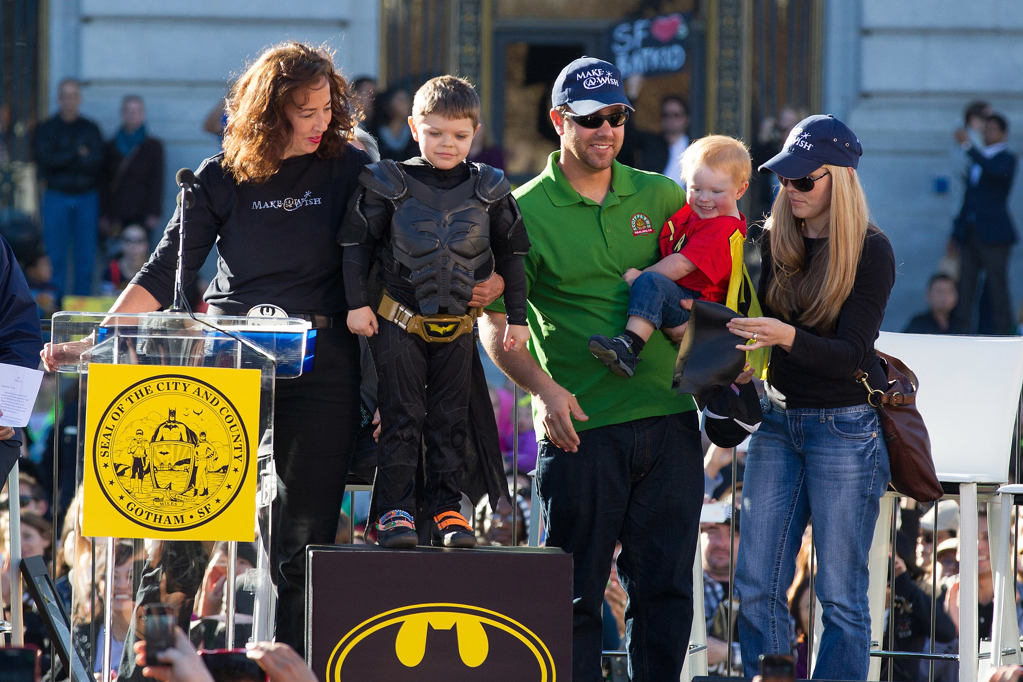 Batkid was joined on stage by his parents, Natalie and Nick Scott, plus his little brother, who was dressed as Robin.