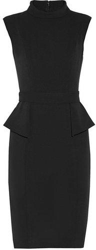 Badgley Mischka Stretch-crepe peplum dress