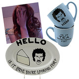 "@debbie_hairy Lionel Cheese Plate ($30) and Lionel Mug ($16) ""For when you WANT to make a food pun around the holidays, but can't bring yourself to humiliate yourself out loud."""