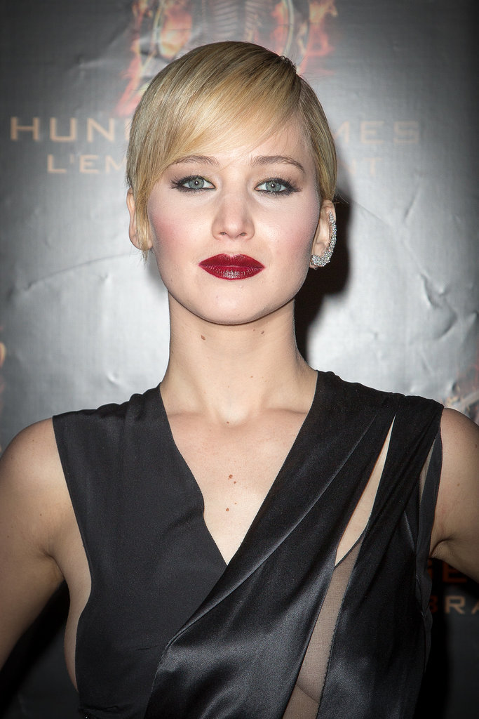 There's only one word we can use to describe Jennifer's look in Paris — fierce. She wore her pixie slicked down, and her makeup was high drama with a vampy merlot lip hue and heavily-lined eyes.