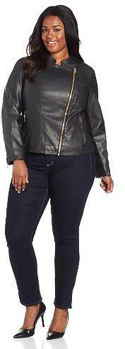 Calvin Klein Women's Plus-Size Embossed Faux Leather Moto Jacket
