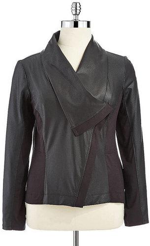 JESSICA SIMPSON WOMENS Plus Faux-Leather Paneled Jacket