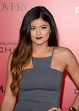 Kylie Jenner wore dark lipstick to the event.
