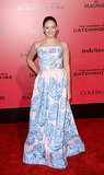 Willow Shields, who plays Primose Everdeen, chose a blue gown.