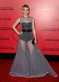 Jennifer Lawrence stunned in a sheer dress at the LA premiere of The Hunger Games: Catching Fire.