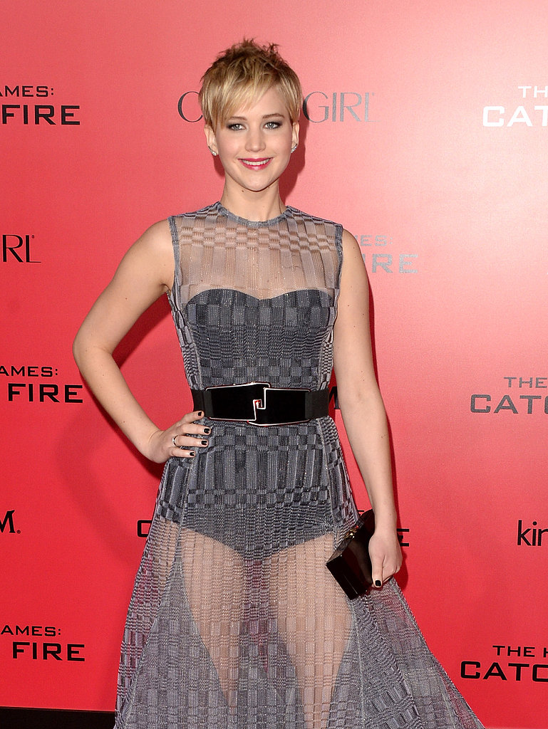 Jennifer Lawrence wore a sheer gown.