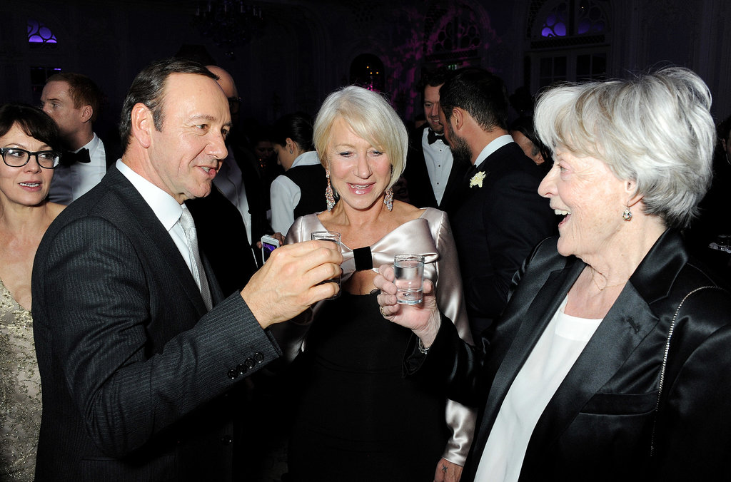 Kevin Spacey, Helen Miren, and Maggie Smith enjoyed a round of shots to celebrate their awards at the 59th Evening Standard Theatre Awards in London.