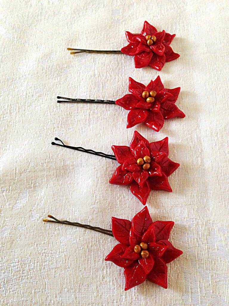 Go faux with these handmade poinsettia flower bobby pins ($40 per pair) and save yourself the mess.