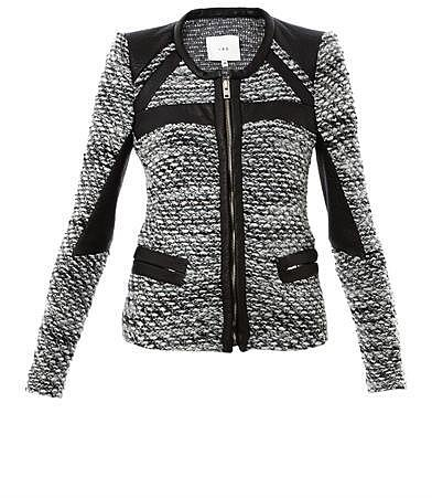 Iro Izzy leather trim tweed jacket
