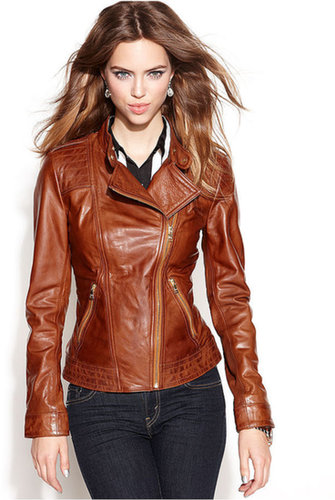 GUESS Jacket, Asymmetrical Zip-Front Leather