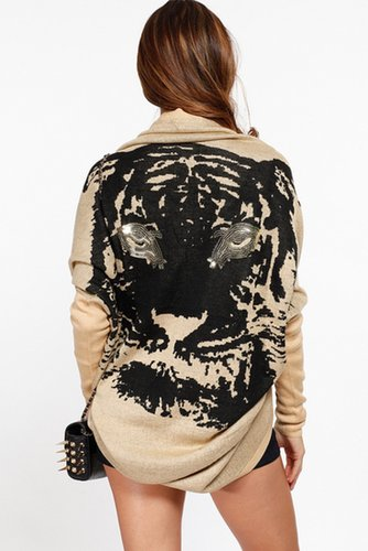 Sequin Lion Eyes Ivory Sweater