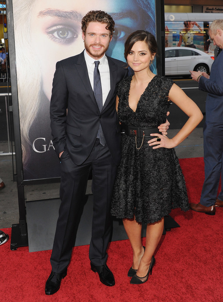 Supporting boyfriend Richard Madden at the Game of Thrones season-three launch party, Jenna wore a pretty lace dress with a full skirt.