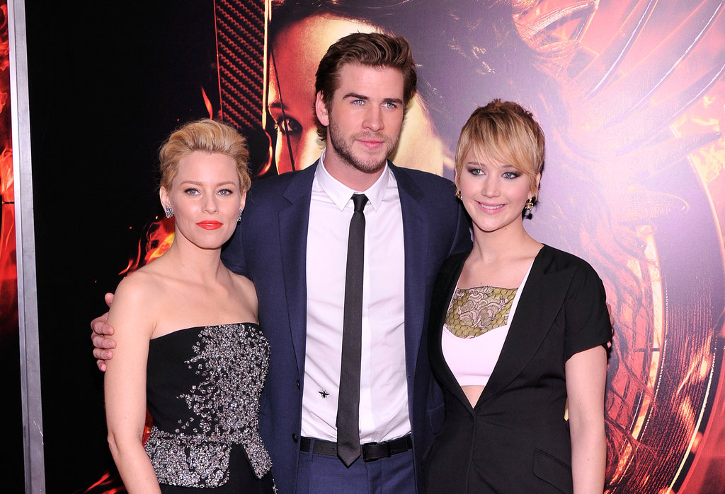 Jennifer Lawrence, Liam Hemsworth, and Elizabeth Banks all posed together at the NYC premiere.