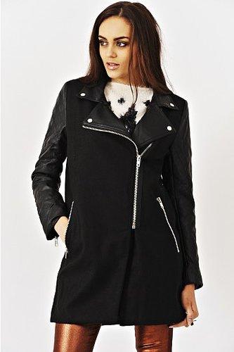 Nika Black Woollen Coat With PU Sleeves