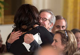 Oprah Winfrey gave Steven Spielberg a big hug at the event.
