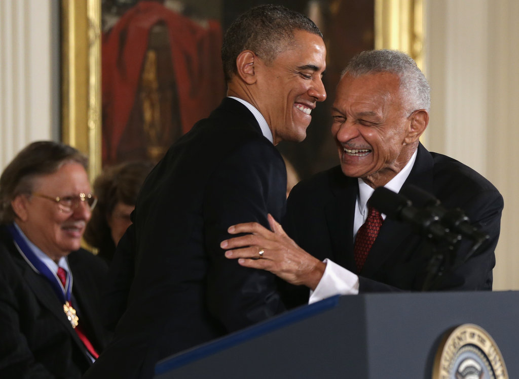 Barack Obama greeted civil rights leader CT Vivian before presenting his medal.