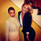 Kim Kardashian met up with Candice Swanepoel as she took her see-through top out on the town. Source: Instagram user derekblasberg