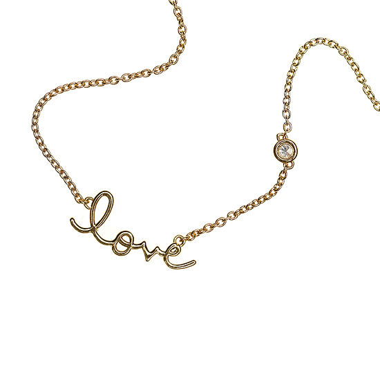 Shy by Sydney Evan Love Necklace Wear your love close to your heart or remind someone how much you care with this delicate necklace. The simple, sweet message is plated in 14-karat gold and includes an exceptional, single bezel-set diamond.