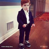 Brooks Stuber looked like quite the dapper gentleman as he graduated from his first baby class. Source: Instagram user mollybsims