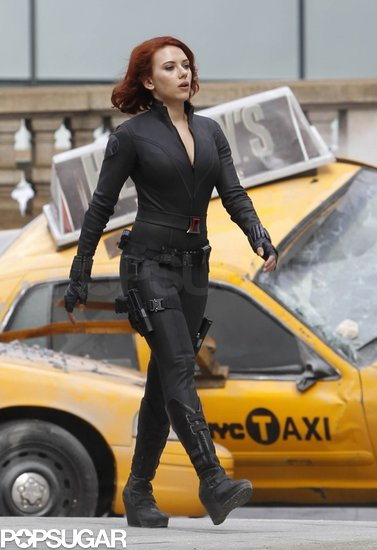 Scarlett Johansson looked sexy in a skintight black catsuit while on the set of The Avengers in 2011.