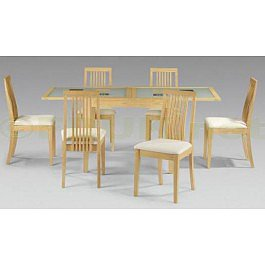Julian Bowen Alaska Real Veneer / Maple Finish Fixed Glass Extending Dining Table with 6 Chairs