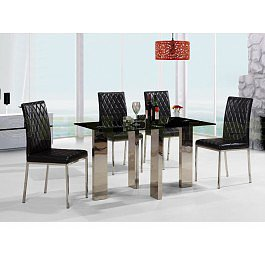 Heartlands Furniture Othello Glass Extending Dining set with 4 Chairs