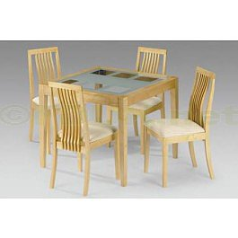 Julian Bowen Alaska Real Veneer / Maple Finish Fixed Glass Top Dining Table with 4 Chairs