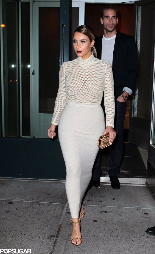 Kim Kardashian stepped out in a see-through top, making an appearance at the Queen Sofia Spanish Institute in NYC with her sister Kendall Jenner.