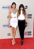 Kendall and Kylie Jenner coordinated in black and white.