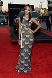 Zoe Saldana stepped out in a satin-and-lace Roland Mouret mixed-print masterpiece. Simple Jimmy Choo sandals and an eye-catching, oversize bracelet were the icing on her cool-girl look.