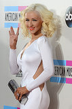 Christina Aguilera waved to fans.